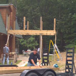 Reid Lister building a second story deck.